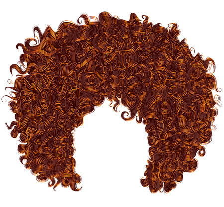 trendy curly  red ginger hair  . realistic  3d . spherical hairs