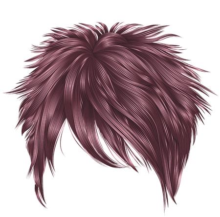 trendy woman short hairs copper pink colors . fringe . fash Illustration