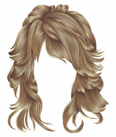 Trendy vrouw lange haren pruik bruine blonde beige kleuren. Beauty f