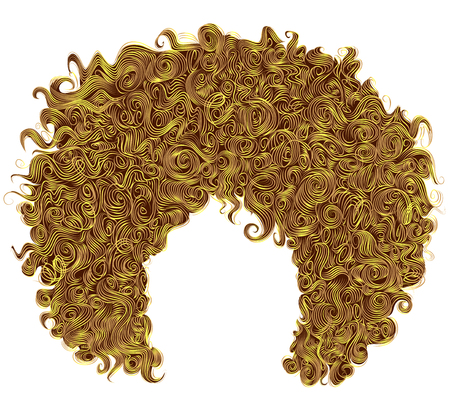 trendy curly bright yellow hair  . realistic  3d . spherical hairstyle . fashion beauty style .