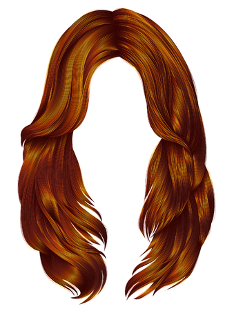 Red long hair of a woman icon.