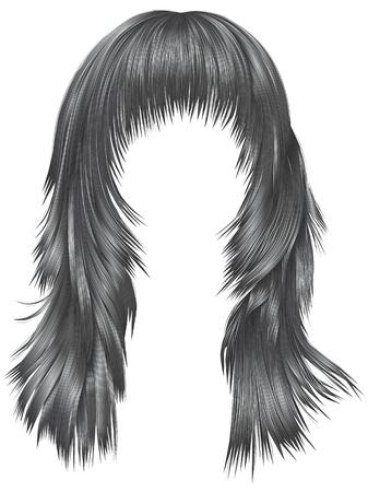 Long black hair of a woman icon.