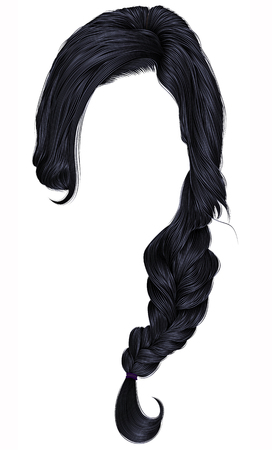 Long black tied hair of a woman icon.