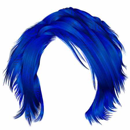 trendy woman disheveled hairs dark blue colors .  beauty fashion Stock fotó