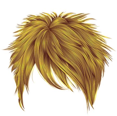 trendy woman short  hairs bright yellow colors . fringe . fashio