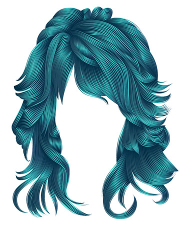 trendy woman long hairs blue colors .beauty fashion .  realisti