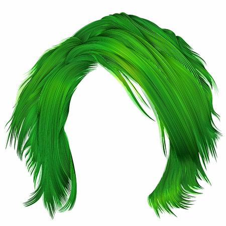 trendy woman disheveled hairs green colors .  beauty fashion .