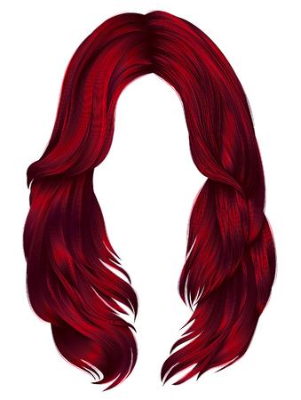 Moda mujer pelos largos colores rojos. moda de belleza realista Foto de archivo - 88074715