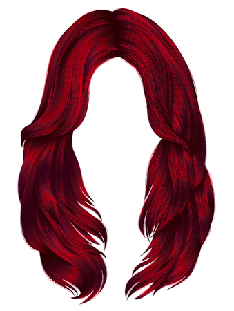 trendy woman long hairs Red colors .  beauty fashion .  realist Illustration