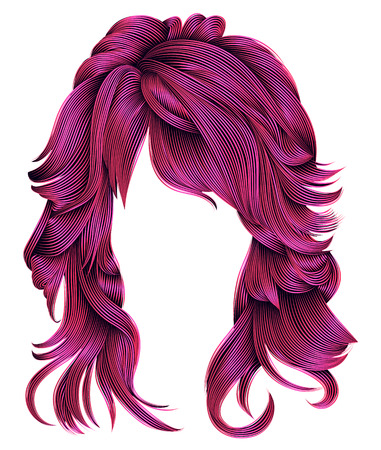 Trendy woman long hairs bright pink  colors beauty fashion .  realistic 3d Illustration