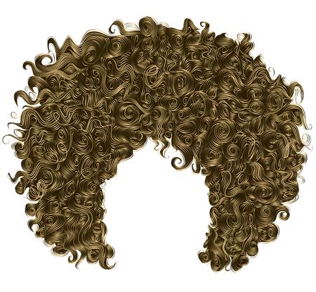 茶色金髪トレンディな巻き毛。リアルな 3 d。球状の髪型ファッション美容スタイル。  イラスト・ベクター素材