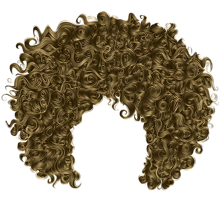 Brown blonde trendy curly   hair  . realistic  3d . spherical  hairstyle fashion beauty style .