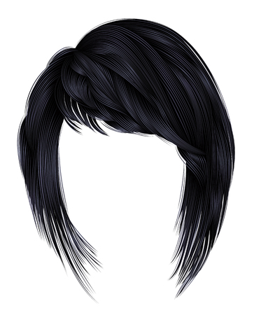 Trendy  woman  hairs kare with fringe  .brunette black  dark colors .  medium length beauty style . realistic  3d .  brunette .