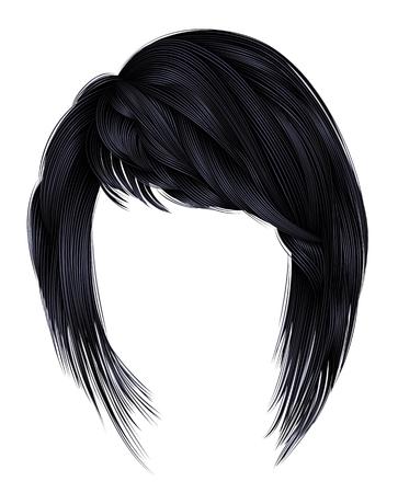Trendy  woman  hairs kare with fringe  .brunette black  dark colors .  medium length beauty style . realistic  3d .  brunette .