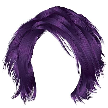 Trendy woman disheveled hairs purple colors    beauty fashion .  realistic 3d