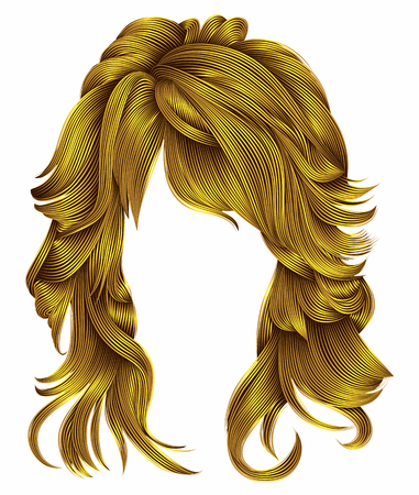 trendy woman long hairs bright yellow  colors .beauty fashion .  realistic 3d Illustration