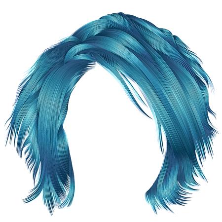 Trendy woman disheveled blue hair.