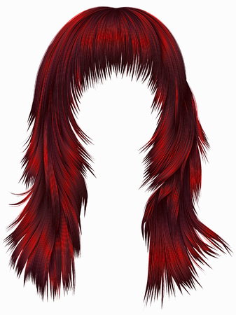 trendy woman long hairs Red colors .  beauty fashion .