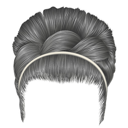 babette of hairs with pigtail gray colors . trendy women fashion