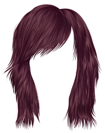 trendy  woman  hairs brown color . medium length . beauty Illustration