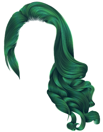woman trendy long curly hairs wig green colors .retro style .beauty fashion . realistic 3d .