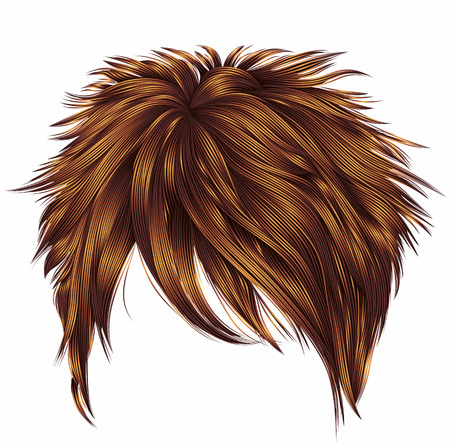 barber: trendy woman short  hairs  Red ginger redhead  colors . fringe . Illustration