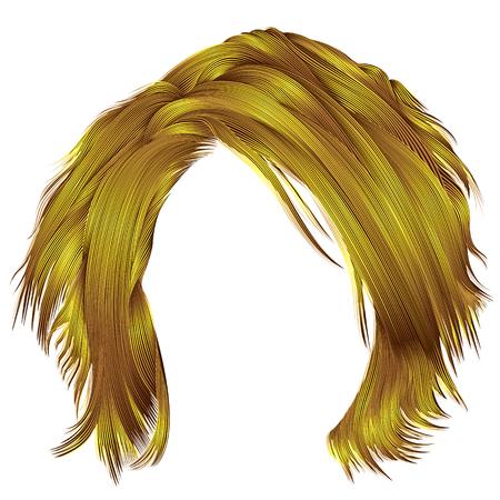 トレンディな女性は乱れた毛明るい黄色の色です。  美容ファッション。 リアルな 3 d