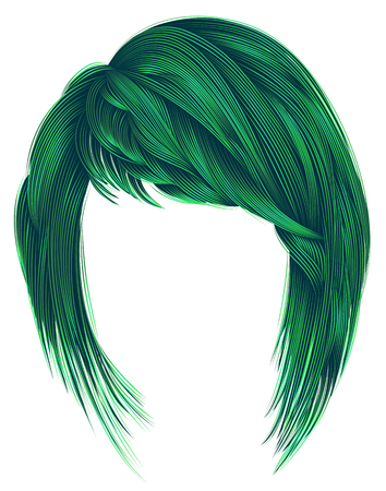 trendy  woman  hairs green colors. kare with bangs.  medium length .fashion beauty style .