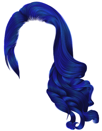 woman trendy long curly hairs wig  dark blue colors .retro style . beauty fashion . realistic 3d . Illustration