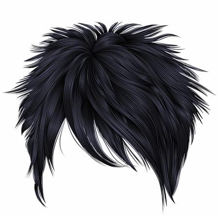 trendy woman short  hairs brunette black colors . fashion beauty style . realistic  3d . Illustration