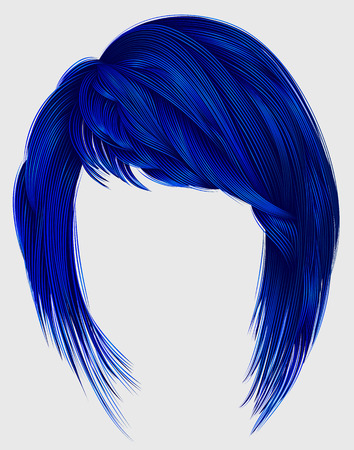 Trendy  woman  hairs dark blue color. Kare with bangs. Medium length. Fashion beauty style. Illustration