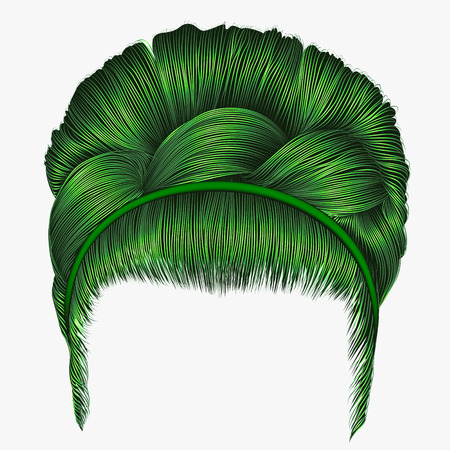 Trendy green hairstyle for women, fashion  beauty style. Illustration