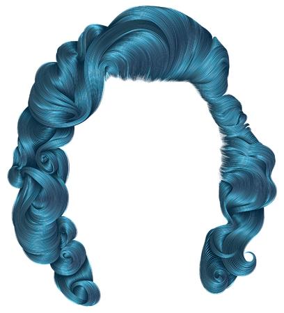 cerulean: Trendy blue retro hair for women. Illustration