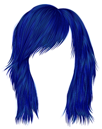 trendy  woman  hairs dark blue color .  medium length . beauty style . realistic  3d .