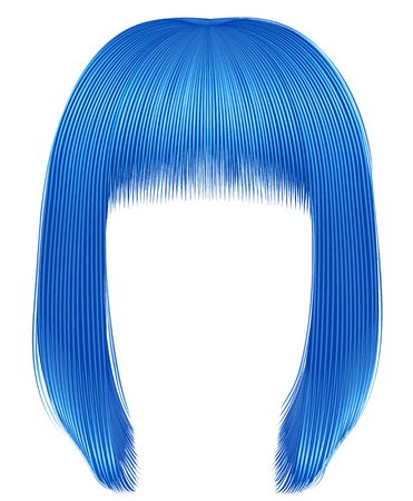 trendy hairs blue colors . kare fringe . beauty fashion Çizim