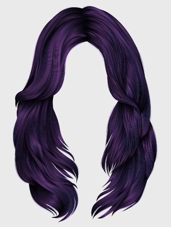 trendy woman long hairs purple colors .  beauty fashion .   realistic  graphic 3d Illustration