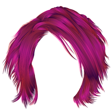 trendy woman disheveled hairs bright pink colors .   beauty fashion .  realistic 3d
