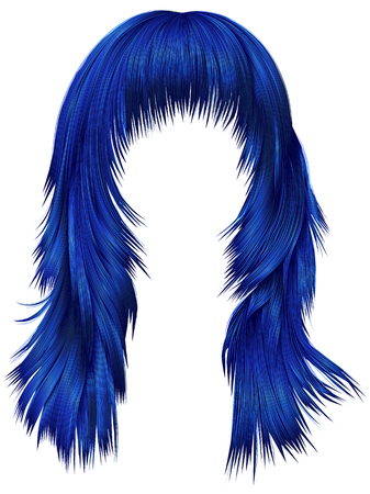 trendy woman long hairs dark blue colors .  beauty fashion .   realistic 3d