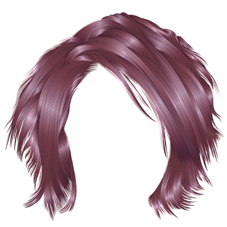 trendy woman disheveled hairs copper pink colors .  beauty fashion . realistic 3d Banco de Imagens - 89106702