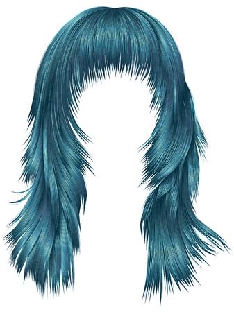 trendy woman long hairs blue colors .  beauty fashion .   realistic 3d