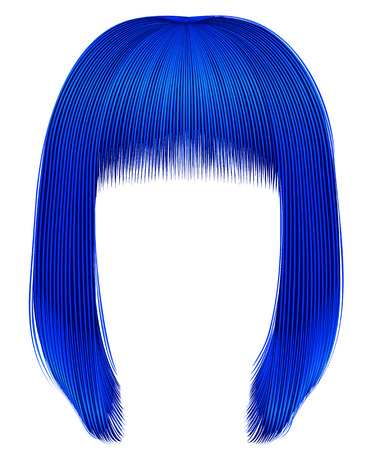 trendy hairs dark blue colors . kare fringe . beauty fashion Illustration