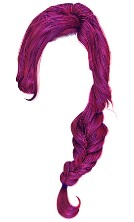 trendy women hairs bright pink colour . plait .   fashion beauty style .