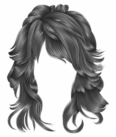 trendy woman long hairs gray colors .beauty fashion .  realistic 3d Stock Vector - 89106710