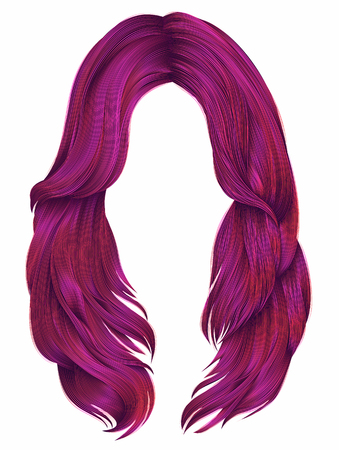 Trendy woman long hairs bright pink colors, beauty fashion realistic graphic illustration