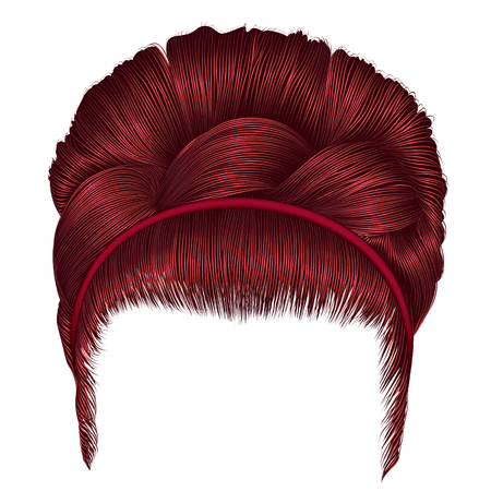 Babette of hairs with pigtail Red colors trendy women fashion beauty style realistic  retro hairstyle .
