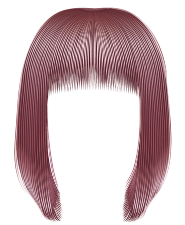 trendy hairs copper pink colors . kare fringe . beauty fashion Illustration
