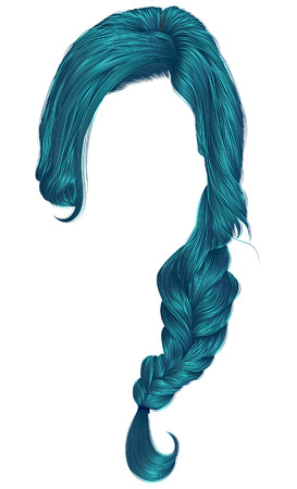 A trendy womens hair in blue dye color, plait fashion beauty style .