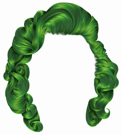 A trendy womans hair with dye green colors, beauty fashion retro style curls realistic 3d .