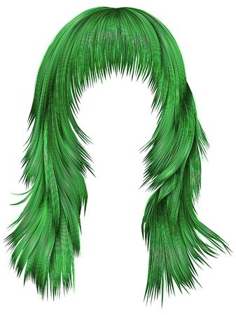A trendy woman long hairs with dye green colors, beauty fashion realistic 3d Illusztráció