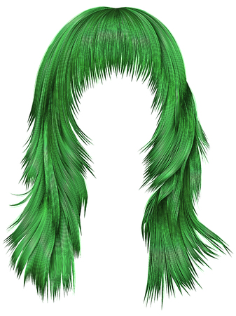 A trendy woman long hairs with dye green colors, beauty fashion realistic 3d Illustration